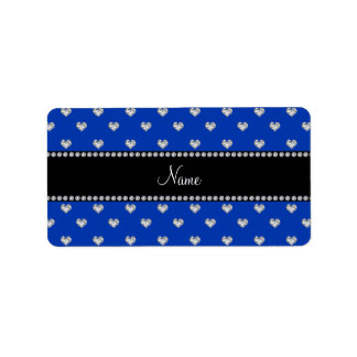 Personalized name blue heart diamonds personalized address label