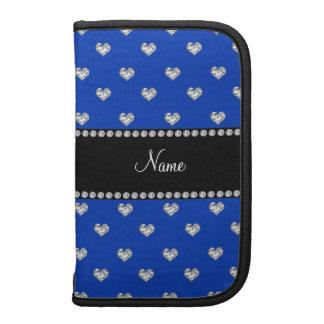 Personalized name blue heart diamonds organizer