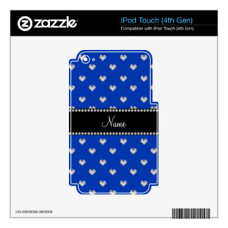 Personalized name blue heart diamonds iPod touch 4G decals