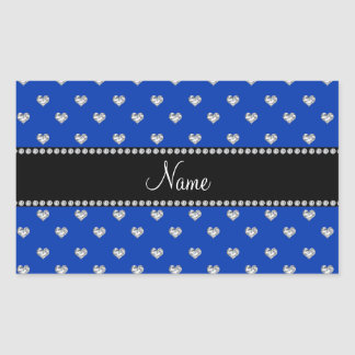 Personalized name blue heart diamonds rectangular sticker