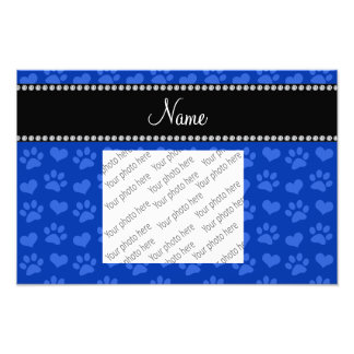 Personalized name blue hearts and paw prints art photo