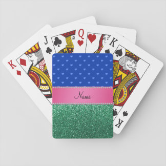 Personalized name blue hearts green glitter playing cards