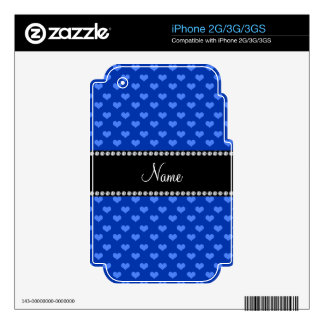 Personalized name blue hearts iPhone 3 skin