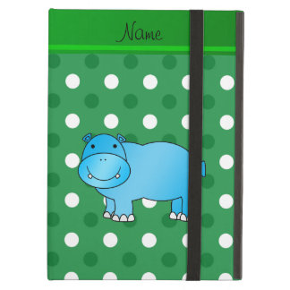 Personalized name blue hippo green white polka dot iPad air cases