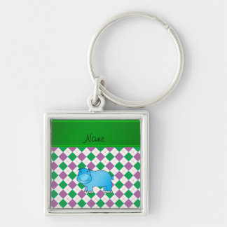 Personalized name blue hippo purple green argyle Silver-Colored square keychain