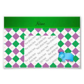 Personalized name blue hippo purple green argyle photo print