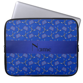 Personalized name blue hockey pattern computer sleeve