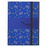 Personalized name blue hockey pattern iPad folio case