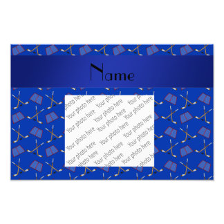 Personalized name blue hockey pattern photographic print