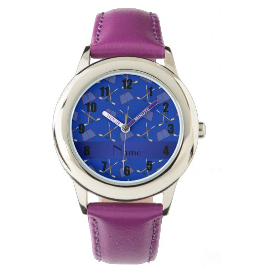 Personalized name blue hockey pattern wrist watch