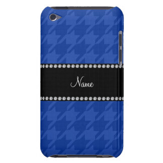 Personalized name blue houndstooth pattern iPod touch cover