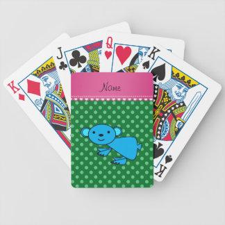 Personalized name blue koala green polka dots card deck