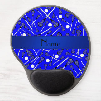 Personalized name blue lacrosse gel mouse mats