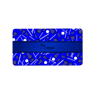 Personalized name blue lacrosse address label
