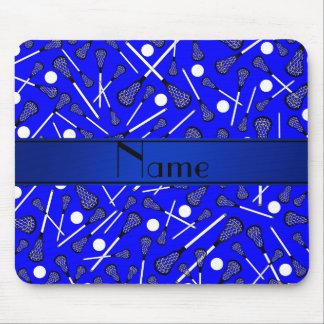 Personalized name blue lacrosse mousepad