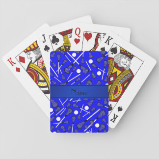 Personalized name blue lacrosse playing cards