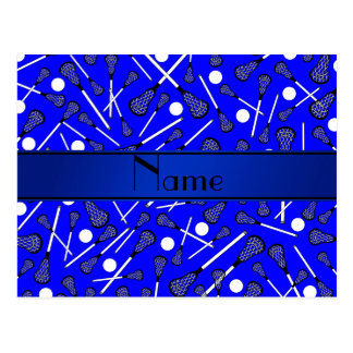 Personalized name blue lacrosse postcard