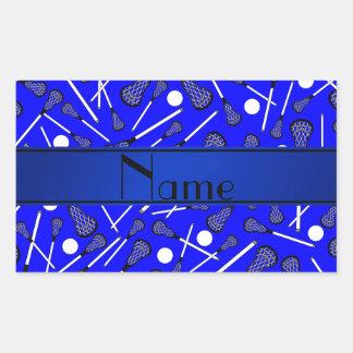 Personalized name blue lacrosse rectangular sticker