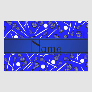 Personalized name blue lacrosse rectangular sticker