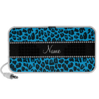 Personalized name blue leopard pattern mini speakers
