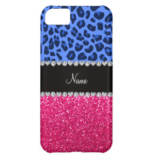 Personalized name blue leopard pink glitter iPhone 5C cases