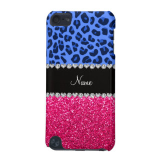 Personalized name blue leopard pink glitter iPod touch 5G cases