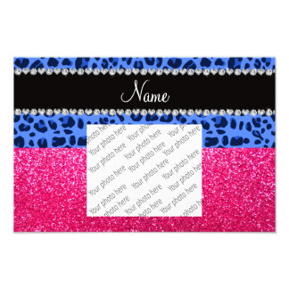 Personalized name blue leopard pink glitter photo print