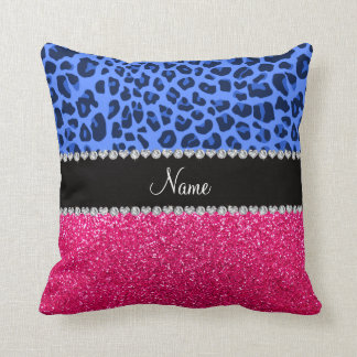 Personalized name blue leopard pink glitter pillows