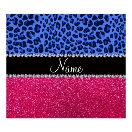 Personalized name blue leopard pink glitter poster