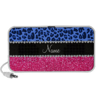 Personalized name blue leopard pink glitter laptop speakers