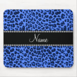 Personalized name blue leopard print mouse pad