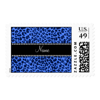 Personalized name blue leopard print postage