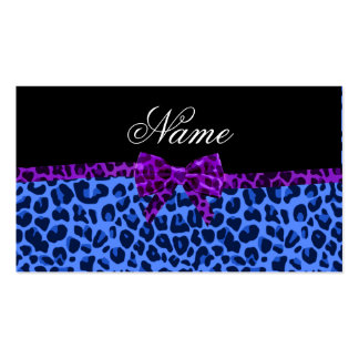 Personalized name blue leopard print purple bow business cards