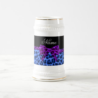 Personalized name blue leopard print purple bow coffee mugs
