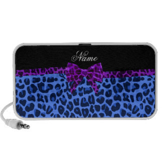 Personalized name blue leopard print purple bow iPhone speakers