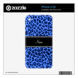 Personalized name blue leopard print decal for the iPhone 4