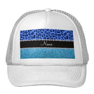Personalized name blue leopard sky blue glitter mesh hats