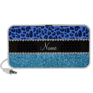 Personalized name blue leopard sky blue glitter portable speakers