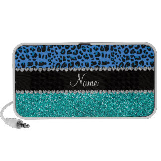 Personalized name blue leopard turquoise glitter portable speakers