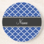 Personalized name Blue moroccan Beverage Coasters