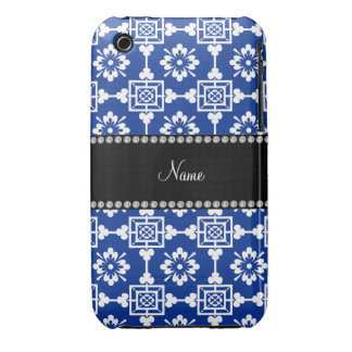 Personalized name blue moroccan trellis iPhone 3 cases