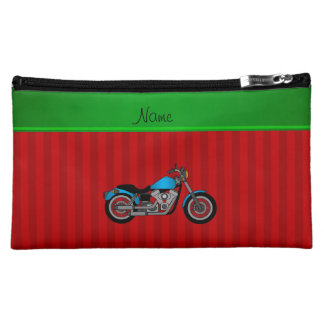 Personalized name blue motorcycle red stripes cosmetic bag