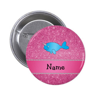 Personalized name blue narwhal pink glitter 2 inch round button