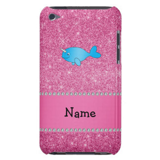 Personalized name blue narwhal pink glitter iPod touch covers