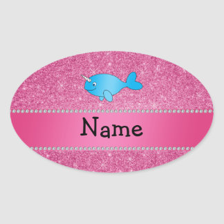 Personalized name blue narwhal pink glitter oval sticker