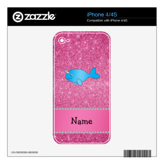 Personalized name blue narwhal pink glitter skin for iPhone 4