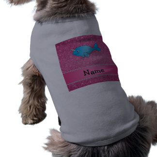 Personalized name blue narwhal pink glitter T-Shirt