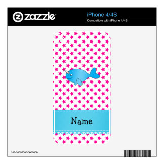 Personalized name blue narwhal pink stars decal for the iPhone 4S
