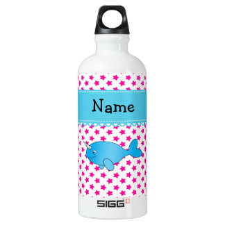 Personalized name blue narwhal pink stars SIGG traveler 0.6L water bottle