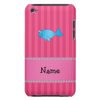 Personalized name blue narwhal pink stripes iPod Case-Mate cases